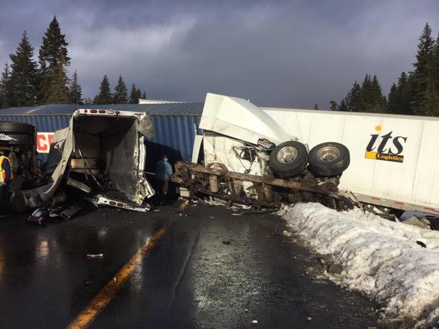 I-90 semi truck wreck